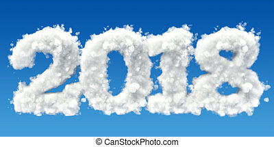 2018 from clouds in the sky. 3D rendering