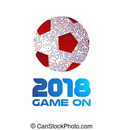 2018 game on typography art with soccer ball