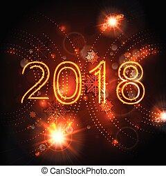 2018 glowing neon orange New Year background