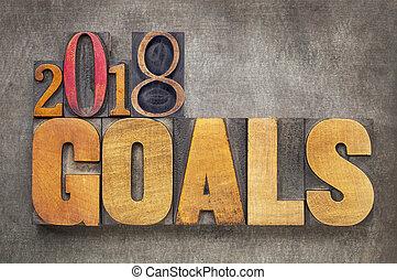 2018 goals banner in wood type goals in letterpress wood type