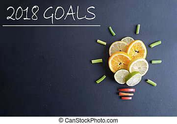 2018 goals list next to a fruit in the shape of a light bulb