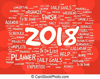 2018 Goals word cloud business concept