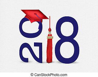 2018, graduación, borla, gorra roja
