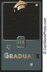 2018 Graduate Photo frame. Rich Golden style on Dark Background. Flat Design.
