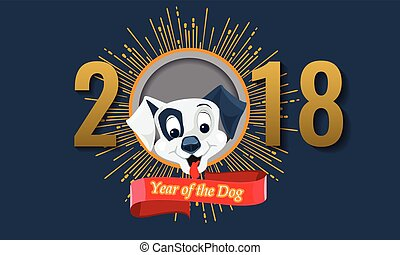 2018 Happy Chinese New Year of the Dog. Vector illustration.