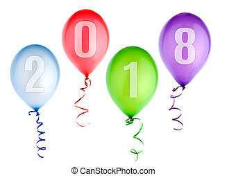 2018 happy new year background with balloons