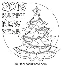 2018 Happy new year black and white poster.