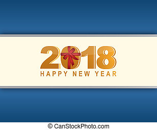 2018 happy new year blue card