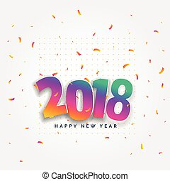 2018 happy new year card design with confetti celebration