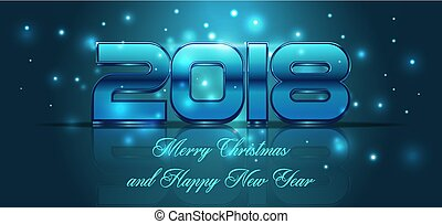 2018 happy new year card in blue color