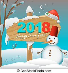 2018 Happy New Year card or background with snowman,