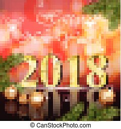 2018 Happy New Year card Vector illustration red bokeh backgrounds