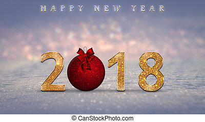 2018 Happy New Year card with golden, glitter numbers, red Christmas ball on snow with colorful bokeh lights in the background. New Year's eve illustration
