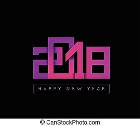 2018 Happy New Year congratulation. Origami paper cut