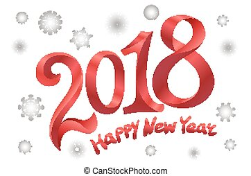 2018 Happy new year design. Modern red text design on white background. snowflake Vector illustration.