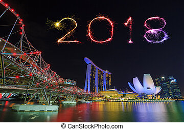 2018 happy new year firework sparkle with the helix bridge urban landscape of singapore