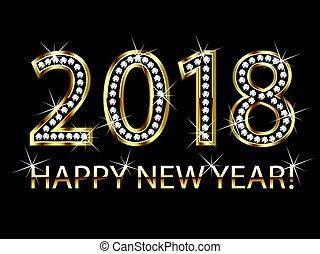 2018 happy new year gold design