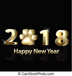 2018 Happy New Year  gold image