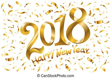 2018 Happy new year. Gold Numbers Design of greeting card Confetti Shining Pattern. Vector illustration.