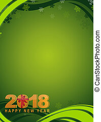 2018 happy new year green winter card