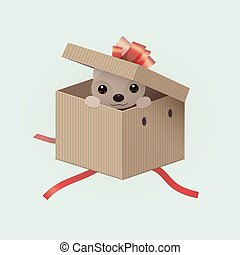 2018 Happy New Year greeting card. Celebration background with dog gift inside box. 2018 Chinese New Year of the dog. Vector Illustration