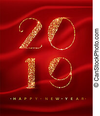 2018 Happy New Year greeting card with shining gold numbers. Vector illustration. Brochure design template, business diary cover.