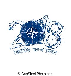 2018 Happy New Year Nato grunge vector template for greeting card and other.
