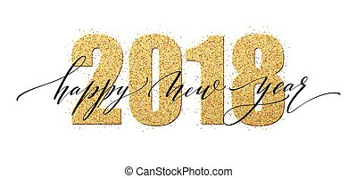 2018 happy new year numbers golden glitter design greeting card gold shining pattern