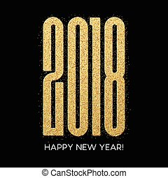 2018 Happy new year. Numbers Golden Glitter Design greeting card. Gold Shining Pattern. Vector illustration