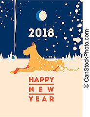 2018 Happy New Year greeting card. Celebration background with dog. 2018 Chinese New Year of the dog. Vector Illustration