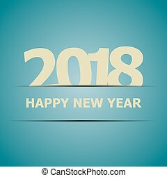 2018 Happy New Year on blue background