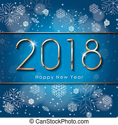 2018 Happy New Year text design with snowflakes. Vector greeting illustration with golden numbers on blue background