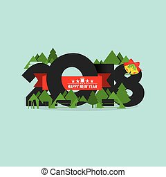 2018 Happy New Year Vector Illustration