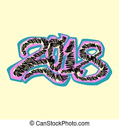 2018 Happy New Year vector illustration,design in graffity...