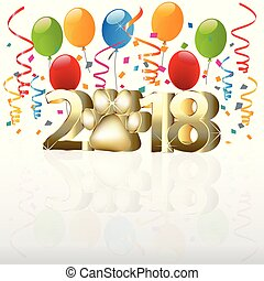 2018 Happy new year with balloons