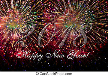 2018 Happy new year with fireworks