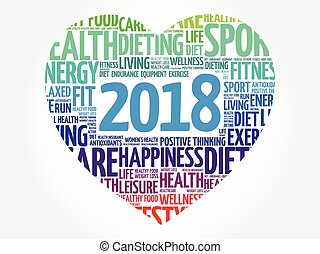 2018 heart sport word cloud collage, health concept...