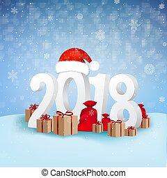 2018, hintergrund, jahr, neu , karte, glücklich