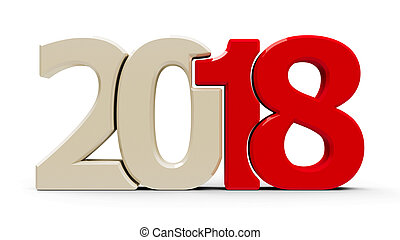 2018 icon compact red - Red 2018 symbol, icon or button...