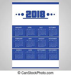 2018, jednoduchý, povolání oplzlý, stěna kalendář, s, neposkvrněný, eps10