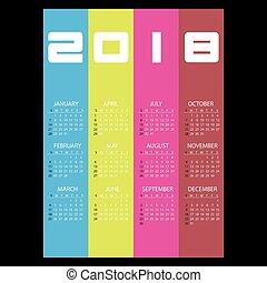 2018, jednoduchý, povolání, stěna kalendář, s, kolmice, barva, výprask, eps10
