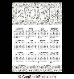 2018, jednoduchý, povolání, stěna kalendář, s, nárys, květinový charakter, eps10