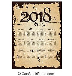 2018, jednoduchý, povolání, stěna kalendář, s, příč.min. od tear, dávný, noviny, grafické pozadí, eps10