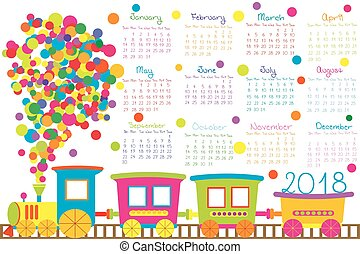 2018, kalender, hos, cartoon, tog, by, børn
