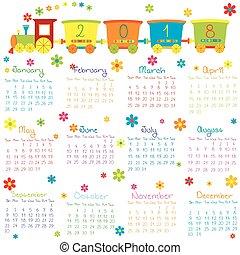 2018, kalender, met, de trein van het stuk speelgoed, en, bloemen