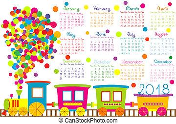 2018, kalender, mit, karikatur, zug, für, kinder