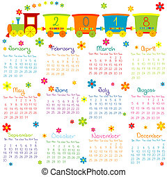 2018, kalender, mit, spielzeugeisenbahn, und, blumen