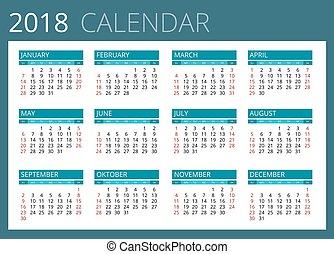 2018., kalender, sunday., vektor, startar, enkel, vecka, design.