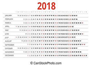 2018., kalender