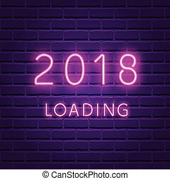 2018 loading. New year glowing neon ultra violet background